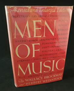 Men of Music book by Wallace Brockway and Herbert Weinstock, the same edition as the book Marilyn Monroe owned